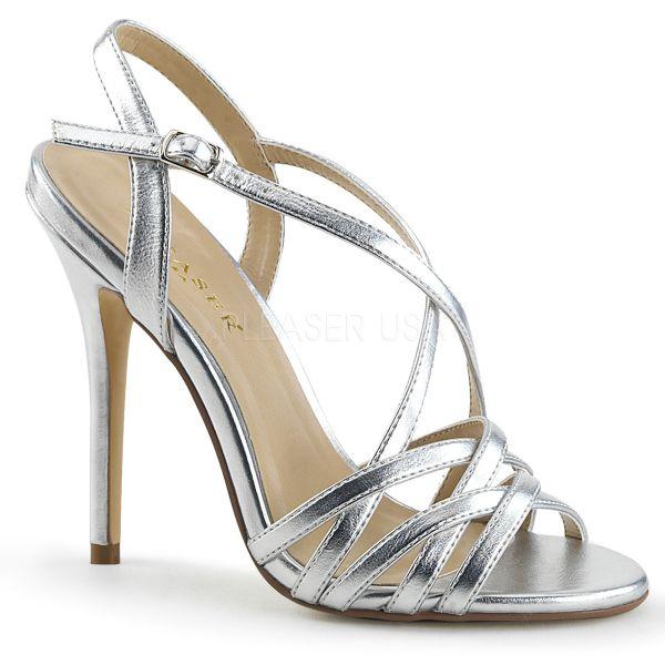 High Heel Sandalette silber PU AMUSE-13